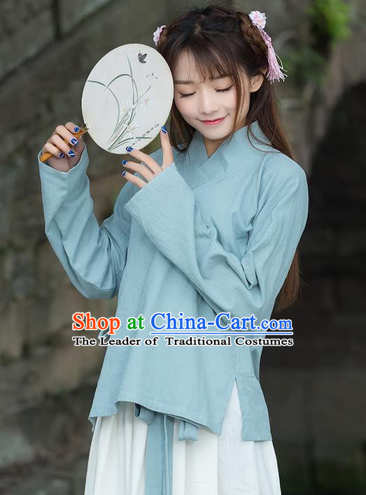 Traditional Ancient Chinese National Costume, Elegant Hanfu Linen Blue Shirt, China Ming Dynasty Tang Suit Blouse Cheongsam Qipao Shirts Clothing for Women