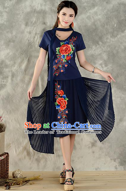 Traditional Ancient Chinese National Costume, Elegant Hanfu Embroidered Peony Halter Tops Navy T-Shirt, China Tang Suit Short Sleeve Blouse Cheongsam Qipao Shirts Clothing for Women