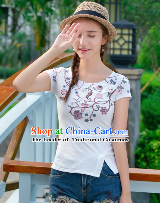 Traditional Ancient Chinese National Costume, Elegant Hanfu Embroidered Base Shirt, China Tang Suit Round Collar Blouse Cheongsam Qipao Shirts Clothing for Women