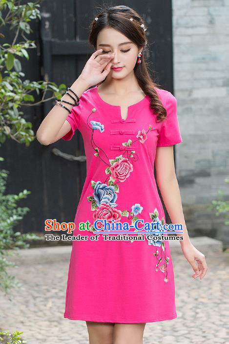 Traditional Ancient Chinese National Costume, Elegant Hanfu Embroidered Qipao Dress, China Tang Suit Cheongsam Upper Outer Garment Elegant Pink Dress Clothing for Women