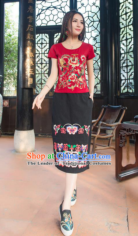 Traditional Ancient Chinese National Costume One-Step Skirt, Elegant Hanfu Embroidered Long Dress, China Tang Suit Black Bust Skirt for Women