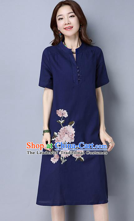 Traditional Ancient Chinese National Costume, Elegant Hanfu Mandarin Collar Qipao Linen Navy Dress, China Tang Suit Cheongsam Upper Outer Garment Elegant Dress Clothing for Women