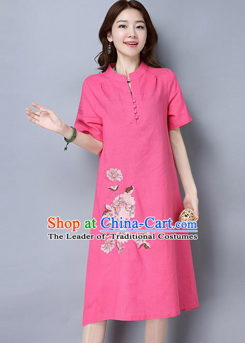 Traditional Ancient Chinese National Costume, Elegant Hanfu Mandarin Collar Qipao Linen Pink Dress, China Tang Suit Cheongsam Upper Outer Garment Elegant Dress Clothing for Women