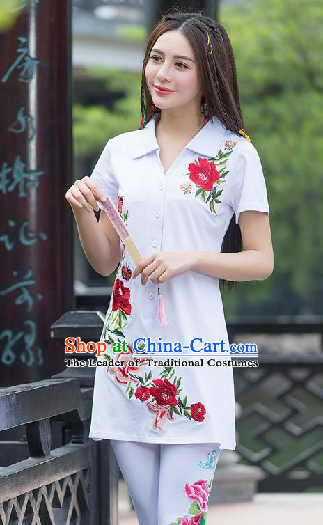 Traditional Ancient Chinese National Costume, Elegant Hanfu Embroidered Peony Flowers White Long T-Shirt, China Tang Suit Blouse Cheongsam Qipao Shirts Clothing for Women