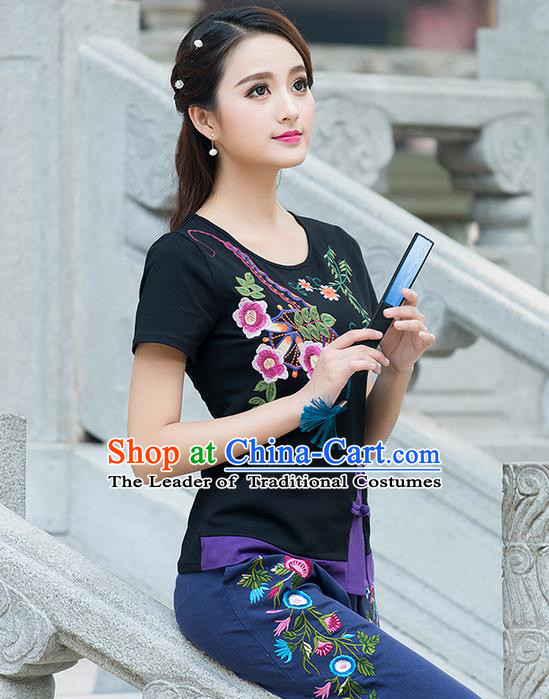 Traditional Chinese National Costume, Elegant Hanfu Embroidered Round Collar T-Shirt, China Tang Suit Black Blouse Cheongsam Qipao Shirts Clothing for Women