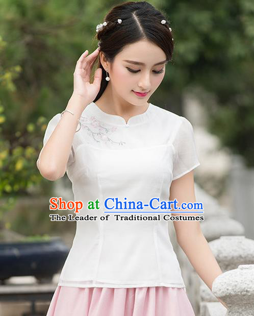 Traditional Ancient Chinese National Costume, Elegant Hanfu Organza Embroidered Shirt, China Tang Suit Mandarin Collar Blouse Cheongsam Qipao Shirts Clothing for Women