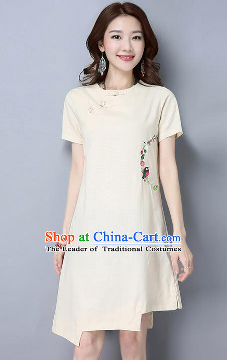 Traditional Chinese National Costume, Elegant Hanfu Round Collar Qipao Embroidered Dress, China Tang Suit Plated Buttons Cheongsam Upper Outer Garment Elegant Dress Clothing for Women