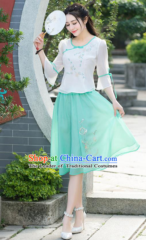 Traditional Ancient Chinese National Pleated Skirt Costume, Elegant Hanfu Embroidered Chiffon Blue Short Dress, China Tang Suit Bust Skirt for Women