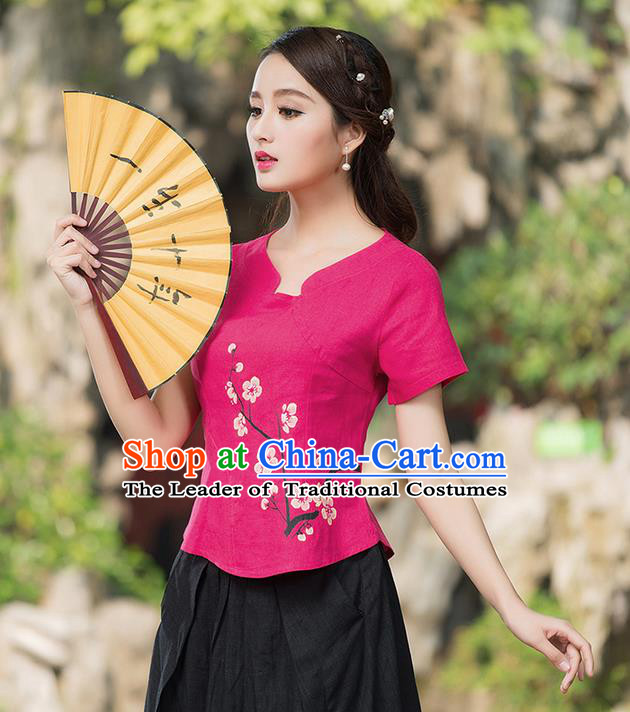 Traditional Ancient Chinese National Costume, Elegant Hanfu Embroidered Peach Blossom Flowers Pink T-Shirt, China Tang Suit Blouse Cheongsam Qipao Shirts Clothing for Women