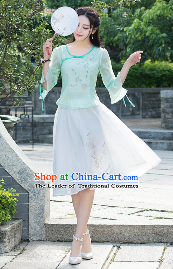 Traditional Ancient Chinese National Pleated Skirt Costume, Elegant Hanfu Embroidered Chiffon White Short Dress, China Tang Suit Bust Skirt for Women
