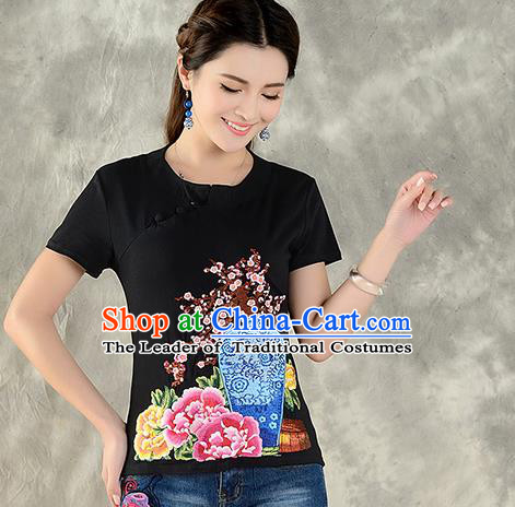 Traditional Ancient Chinese National Costume, Elegant Hanfu Embroidered Round Collar T-Shirt, China Tang Suit Black Blouse Cheongsam Qipao Shirts Clothing for Women