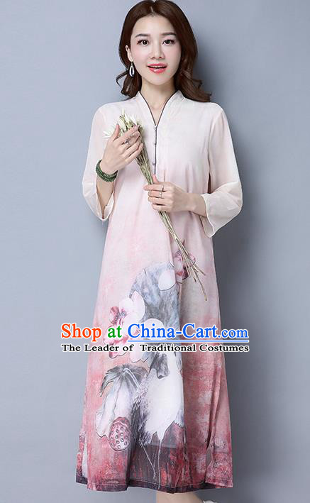 Traditional Ancient Chinese National Costume, Elegant Hanfu Cardigan Qipao Printing Dress, China Tang Suit Cheongsam Upper Outer Garment Elegant Dress Clothing for Women