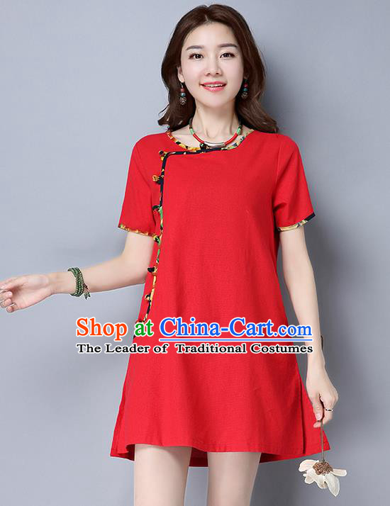 Traditional Ancient Chinese National Costume, Elegant Hanfu Qipao Linen Red Dress, China Tang Suit Cheongsam Upper Outer Garment Elegant Dress Clothing for Women