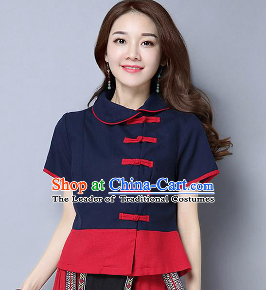 Traditional Chinese National Costume, Elegant Hanfu Lapel Shirt, China Tang Suit Blouse Cheongsam Qipao Navy Shirts Clothing for Women