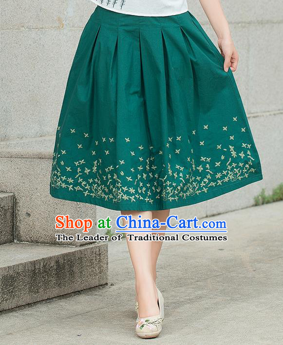 Traditional Chinese National Costume Pleated Skirt, Elegant Hanfu Embroidered Green Dress, China Tang Suit Bust Skirt for Women