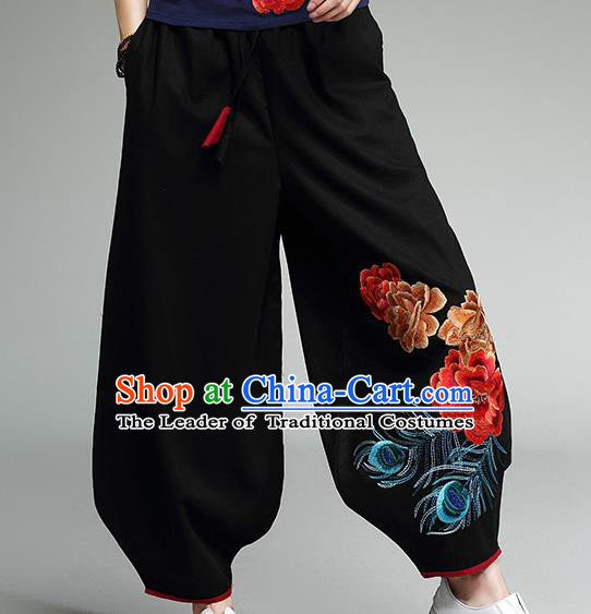 Traditional Chinese National Costume Plus Fours, Elegant Hanfu Embroidered Black Bloomers, China Ethnic Minorities Tang Suit Pantalettes for Women
