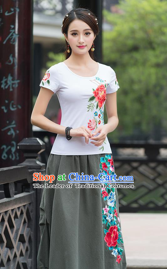 Traditional Ancient Chinese National Costume, Elegant Hanfu Embroidered Peony White T-Shirt, China Tang Suit Blouse Cheongsam Qipao Shirts Clothing for Women