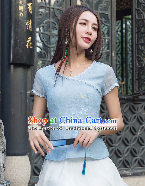Traditional Ancient Chinese National Costume, Elegant Hanfu Embroidered T-Shirt, China Tang Suit Blouse Cheongsam Qipao Shirts Clothing for Women