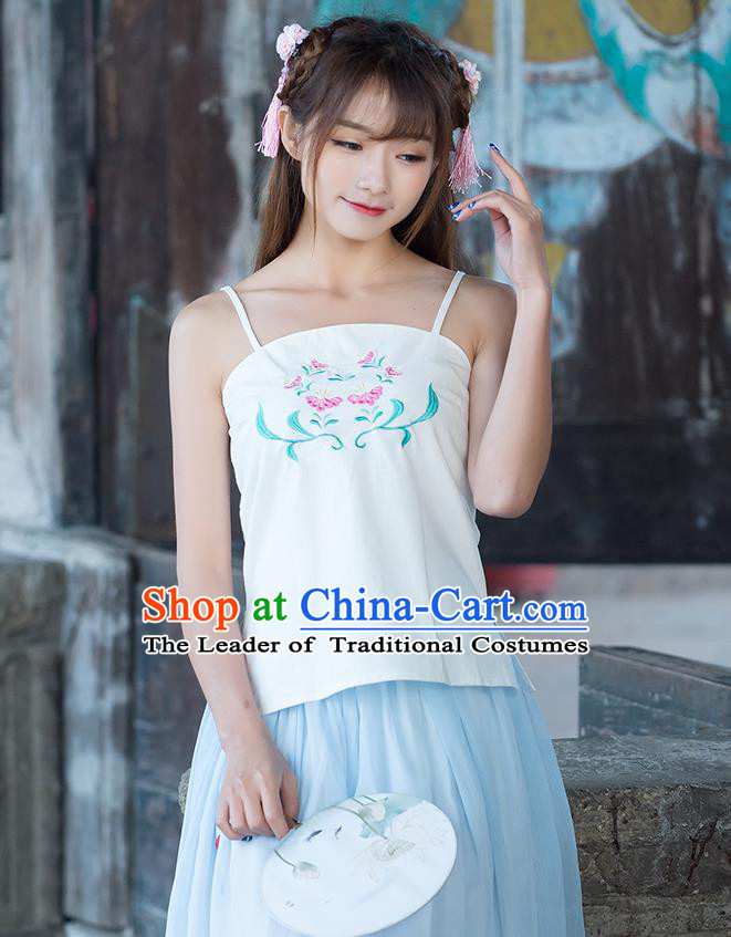 Traditional Ancient Chinese National Costume, Elegant Hanfu Bellyband Shirt, China Tang Suit Embroidery Undergarment Blouse Cheongsam Beige Camisole Shirts Clothing for Women