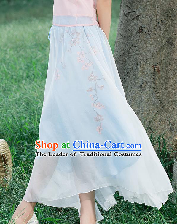 Traditional Ancient Chinese National Pleated Skirt Costume, Elegant Hanfu Embroidered Waistband Long Dress, China Tang Suit Blue Bust Skirt for Women