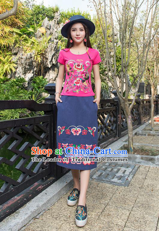 Traditional Chinese National Costume, Elegant Hanfu Embroidery Phoenix Totem Pink T-Shirt, China Tang Suit Blouse Cheongsam Upper Outer Garment Qipao Shirts Clothing for Women
