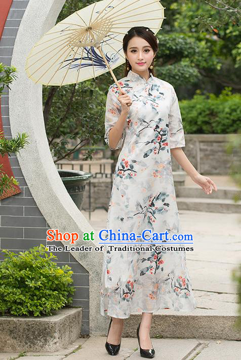 Traditional Ancient Chinese National Costume, Elegant Hanfu Mandarin Qipao Painting Crane Dress, China Tang Suit Stand Collar Cheongsam Upper Outer Garment Elegant Dress Clothing for Women