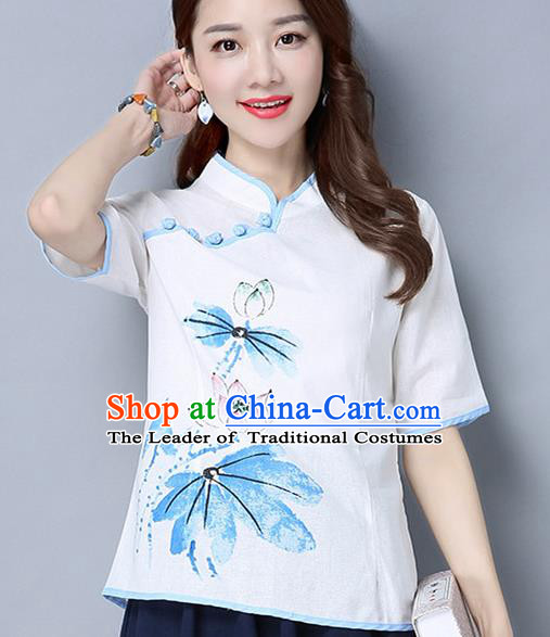 Traditional Ancient Chinese National Costume, Elegant Hanfu Stand Collar Painting Lotus White Shirt, China Tang Suit Mandarin Collar Blouse Cheongsam Qipao Shirts Clothing for Women