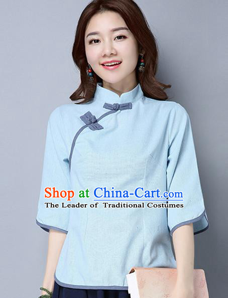 Traditional Ancient Chinese National Costume, Elegant Hanfu Slant Opening Blue Shirt, China Tang Suit Mandarin Collar Blouse Cheongsam Qipao Shirts Clothing for Women