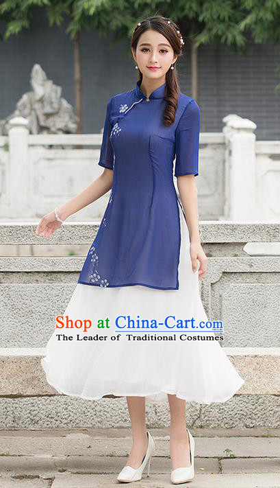 Traditional Ancient Chinese National Costume, Elegant Hanfu Mandarin Qipao Hand Painting Dress, China Tang Suit Cheongsam Upper Outer Garment Elegant Dress Clothing for Women