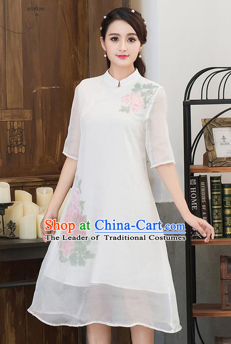 Traditional Ancient Chinese National Costume, Grace Hanfu Mandarin Qipao Embroidered Dress, China Tang Suit Stand Collar Cheongsam Upper Outer Garment Elegant Dress Clothing for Women