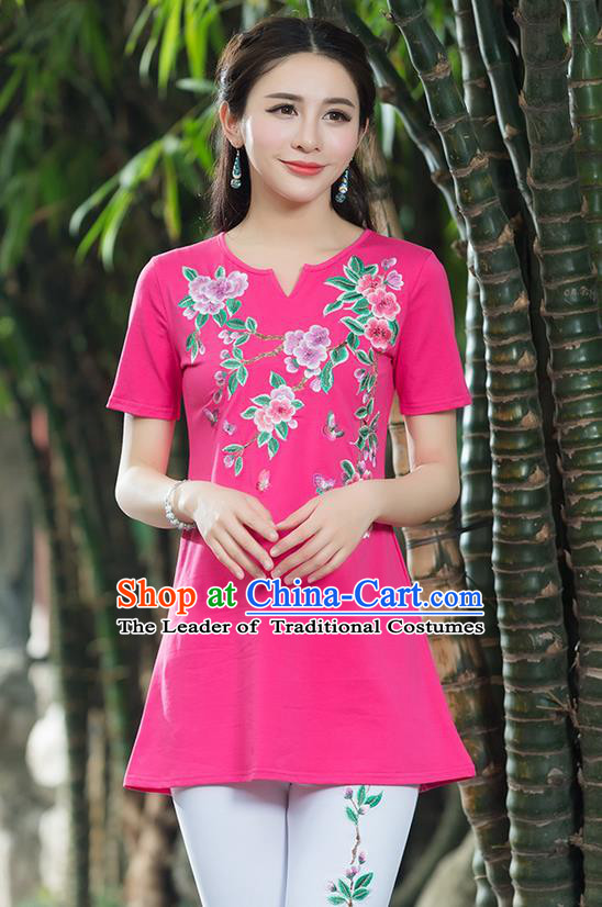 Traditional Chinese National Costume, Elegant Hanfu Embroidery Peach Blossom Flowers Pink T-Shirt, China Tang Suit Blouse Cheongsam Upper Outer Garment Qipao Shirts Clothing for Women