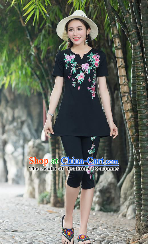 Traditional Chinese National Costume, Elegant Hanfu Embroidery Peach Blossom Flowers Black T-Shirt, China Tang Suit Blouse Cheongsam Upper Outer Garment Qipao Shirts Clothing for Women