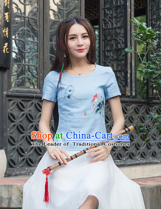 Traditional Ancient Chinese National Costume, Elegant Hanfu Ink Painting Lotus Blue Shirt, China Tang Suit Round Collar Blouse Cheongsam Qipao Shirts Clothing for Women