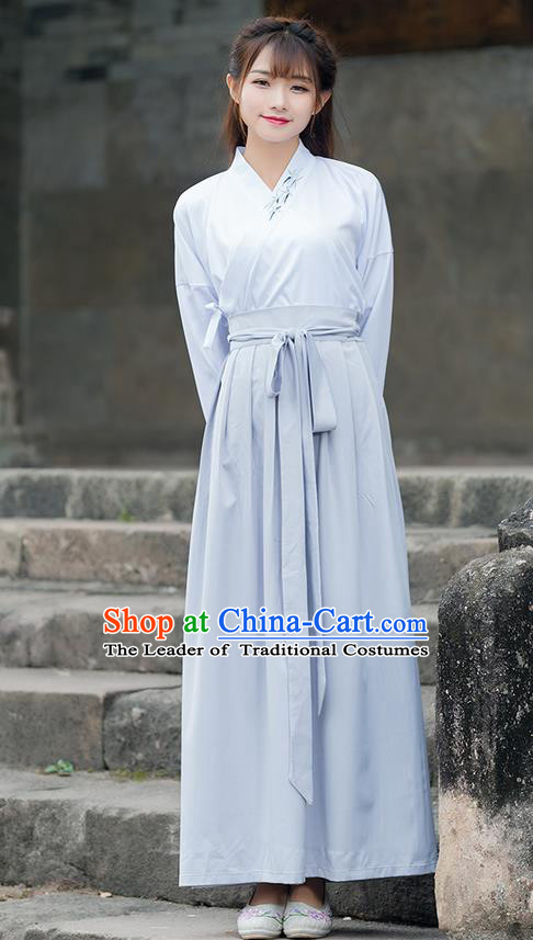 Traditional Ancient Chinese Costume, Elegant Hanfu Clothing Ink Painting Embroidered Slant Opening Blouse and Dress, China Ming Dynasty Elegant Blouse and Skirt Complete Set for Women