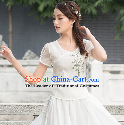 Traditional Ancient Chinese National Costume, Elegant Hanfu Embroidered Shirt, China Ming Dynasty Tang Suit Blouse Cheongsam Qipao Shirts Clothing for Women
