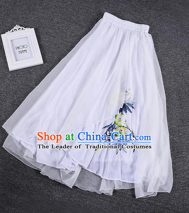 Traditional Chinese National Costume Pleated Skirt, Elegant Hanfu Printing Chiffon White Half Dress, China Tang Suit Bust Skirt for Women