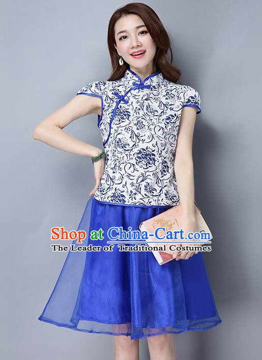 Traditional Ancient Chinese National Costume, Elegant Hanfu Mandarin Qipao Organza Royalblue Dress, China Tang Suit Cheongsam Upper Outer Garment Elegant Dress Clothing for Women