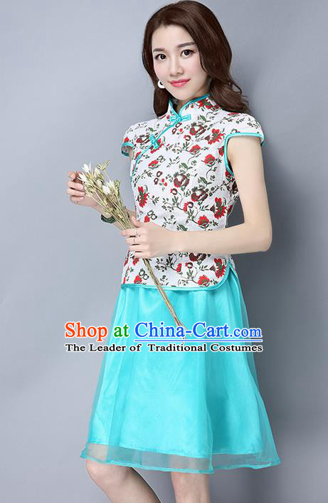 Traditional Ancient Chinese National Costume, Elegant Hanfu Mandarin Qipao Organza Blue Dress, China Tang Suit Cheongsam Upper Outer Garment Elegant Dress Clothing for Women