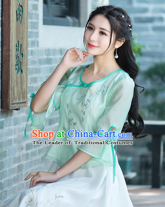 Traditional Ancient Chinese National Costume, Elegant Hanfu Chiffon Embroidered Green Shirt, China Tang Suit Mandarin Sleeve Blouse Cheongsam Qipao Shirts Clothing for Women