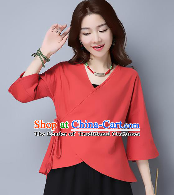 Traditional Chinese National Costume, Elegant Hanfu Slant Opening Red T-Shirt, China Tang Suit Blouse Cheongsam Qipao Shirts Clothing for Women