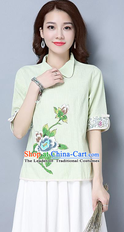 Traditional Ancient Chinese National Costume, Elegant Hanfu Linen Printing T-Shirt, China Tang Suit Blouse Cheongsam Qipao Shirts Clothing for Women