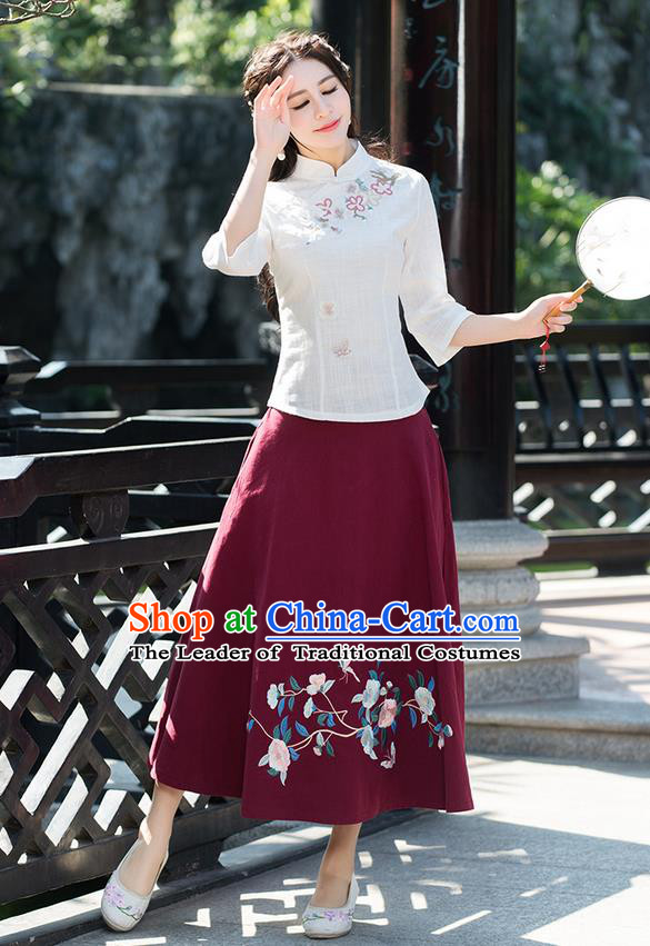Traditional Ancient Chinese National Pleated Skirt Costume, Elegant Hanfu Embroidered Flowers Birds Red Half Dress, China Tang Suit Bust Skirt for Women