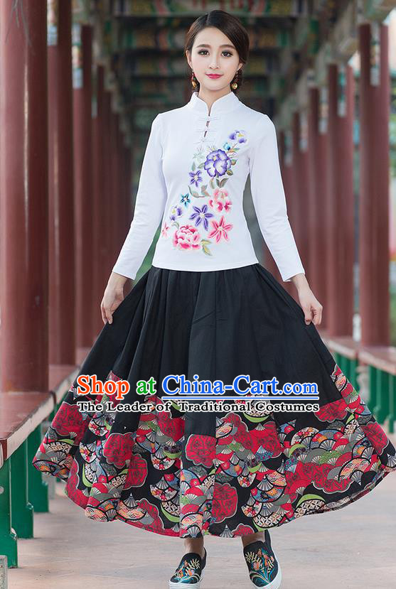 Traditional Chinese National Costume, Elegant Hanfu Embroidery Flowers Stand Collar White T-Shirt, China Tang Suit Plated Buttons Blouse Cheongsam Upper Outer Garment Qipao Shirts Clothing for Women