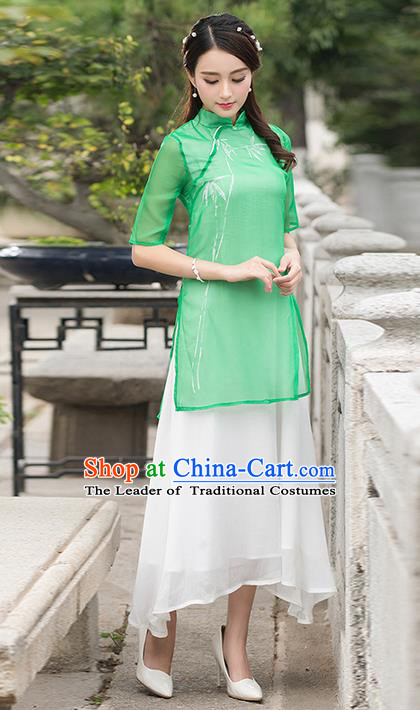 Traditional Ancient Chinese National Costume, Elegant Hanfu Mandarin Qipao Double-deck Dress, China Tang Suit Green Cheongsam Upper Outer Garment Elegant Dress Clothing for Women