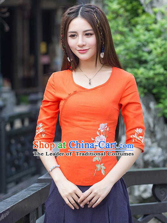 Traditional Ancient Chinese National Costume, Elegant Hanfu Linen Slant Opening Embroidered Orange T-Shirt, China Tang Suit Mandarin Collar Blouse Cheongsam Qipao Shirts Clothing for Women