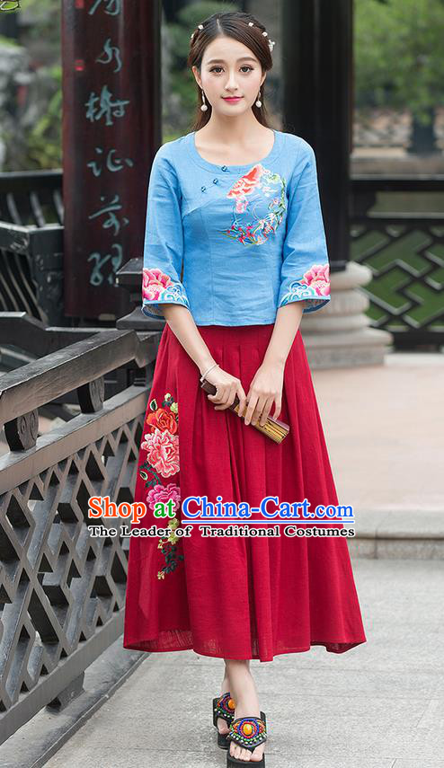 Traditional Ancient Chinese National Costume, Elegant Hanfu Linen Delicacy Embroidered Blue T-Shirt, China Tang Suit Mandarin Collar Blouse Cheongsam Qipao Shirts Clothing for Women