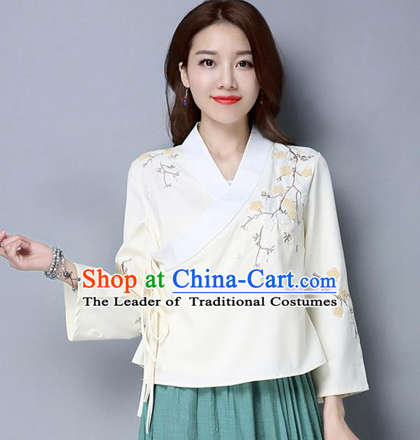 Traditional Ancient Chinese National Costume, Elegant Hanfu Slant Opening Embroidered Shirt, China Tang Suit Blouse Cheongsam Qipao Shirts Clothing for Women