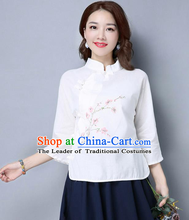 Traditional Chinese National Costume, Elegant Hanfu Embroidery Stand Collar White Shirt, China Tang Suit Plated Buttons Blouse Cheongsam Upper Outer Garment Qipao Shirts Clothing for Women