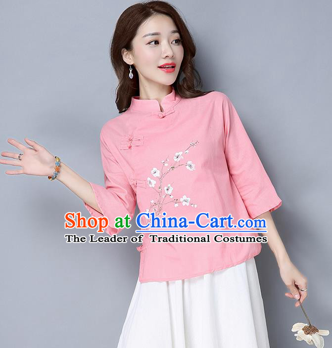 Traditional Chinese National Costume, Elegant Hanfu Embroidery Stand Collar Pink Shirt, China Tang Suit Plated Buttons Blouse Cheongsam Upper Outer Garment Qipao Shirts Clothing for Women