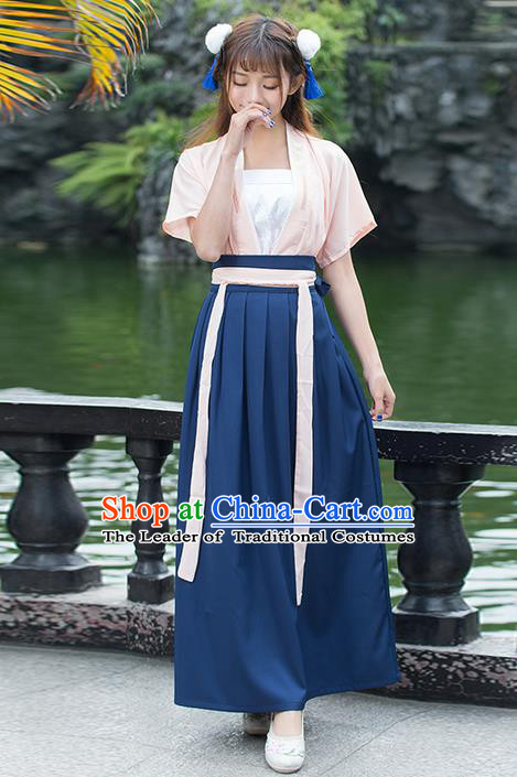 Traditional Ancient Chinese Costume, Elegant Hanfu Clothing Embroidered Banbi Blouse and Dress, China Tang Dynasty Elegant Blouse and Ru Skirt Complete Set for Women